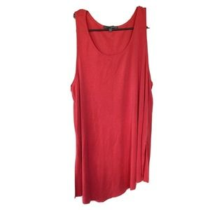 Matty M Tunic Top Mini Dress Red Sleeveless Womens Sz L Asymmetrical Hem Summer